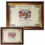 Family Crest A4 WEDDING Combined Crests Framed Print PERSONALISED, ref FCCWGF
